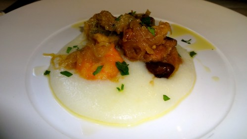 Polenta with Sweet and Sour Vegetables and Seafood.