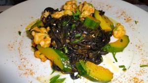 Squid Ink Pasta with Zucchini and Prawns.
