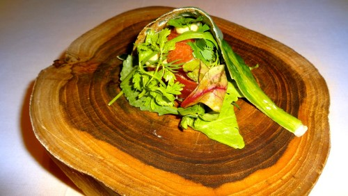 Raw Tuna with Herbs Wrapped in Chard Leaves.