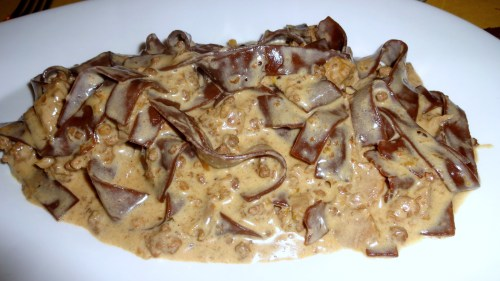 Chocolate Pappardelle Pasta with White Ragu.