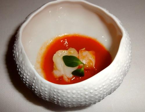 Amuse Bouche: Gazpacho with Raw Shrimp.