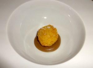 Amuse Bouche: Guinea Fowl Croquette with Porcini Mushroom Cream.