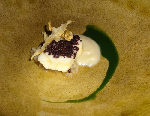 Cod Fish with Taggiasche Olives and Sunchoke Cream.