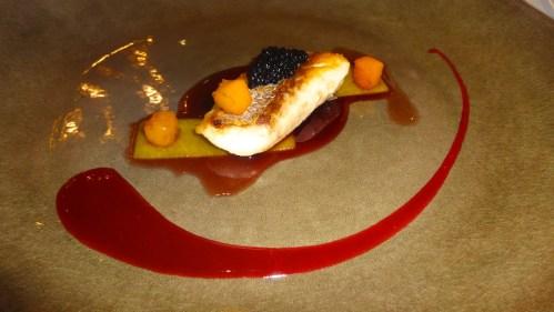 Sea Bass with Caviar, Pumpkin and Red Wine Sauce.