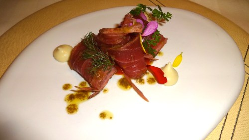 Marinated Yellow Fin Tuna with Basil, Grapefruit Marmalade, Fennel and Licorice.