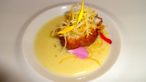Deep Fried Monk Fish filled with Soprassata, Potato and Lemon Purée, and Jamaican Pepper.