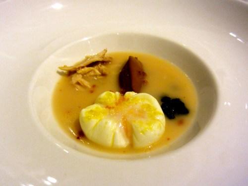 Poached Egg, Shredded Chicken, Liver Pâté, and Caviar.