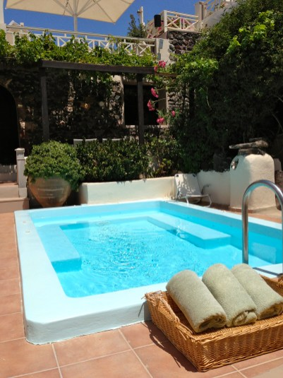 Private Pool at Our Hotel in Fira.