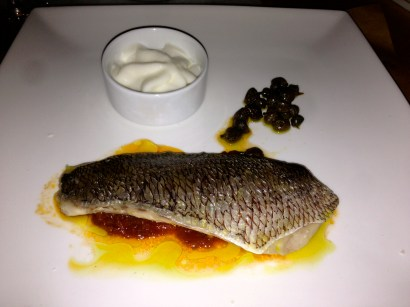 Sea Bass with Tomatoes and Garlic Foam.
