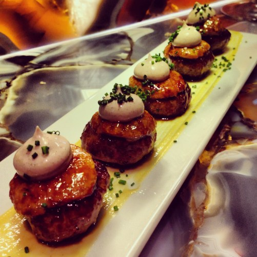 Hands Down the BEST Mini Burgers Ever Topped with Caramelized Foie Gras and Truffle Mousse!