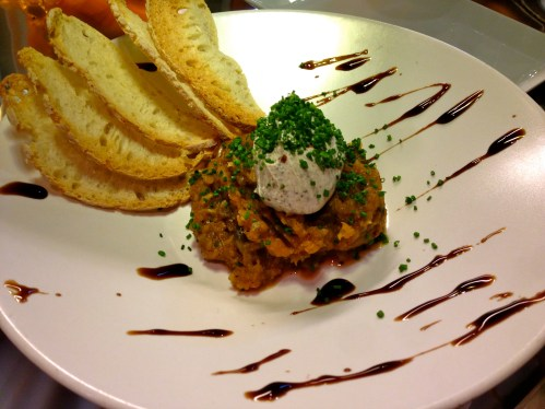 Eggplant Salad with Goat Cheese and Balsamic Reduction.