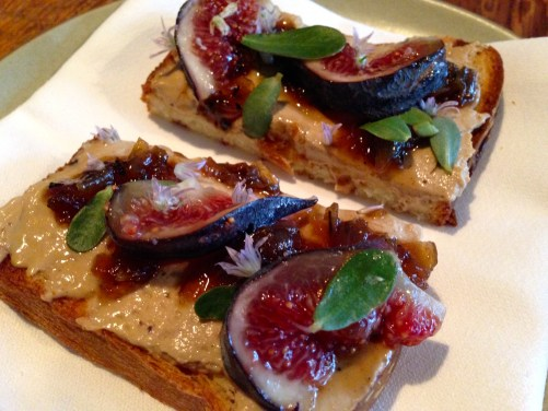 Chicken Liver Crostini with Figs.