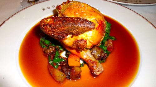 Poulet Rôti: Roasted Chicken with Sunchokes, Winter Squash, Swiss Chard, Bacon Lardons and Chicken Jus (8.5/10).