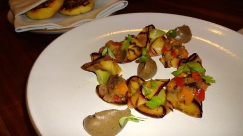 Eggplant, Cucumber, Oregano, Pepper, Za'atar, and Flatbread (8/10).