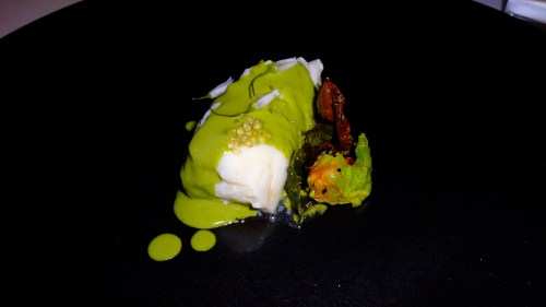 Halibut with Green Garlic and Shishito Pepper Mole and Finger Lime Caviar (8.5-9/10).