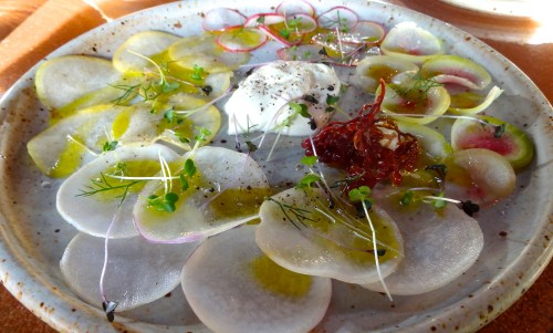 Various Types of Radish Carpaccio with Crème Fraîche, Lemon, and Pickled Sea Grapes (7/10).
