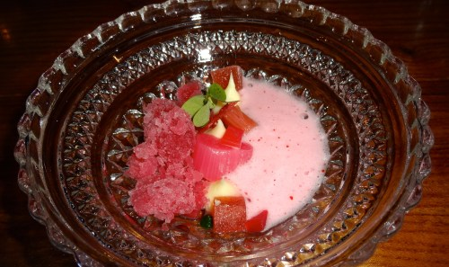 Pre-Dessert: Rhubarb Several Ways with Chamomile, Pink Peppercorn, and Tarragon (8.5/10).