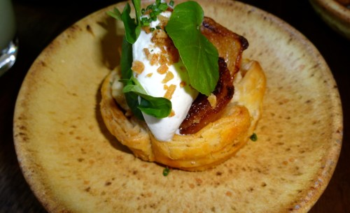 Carmelized Cipollini Onion Tart with Medjool Date Jam, and Whipped Blue Cheese (8/10).