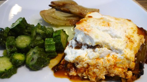 Eggplant Parmigiano with Roasted Fennel and Zucchini (7.5/10).