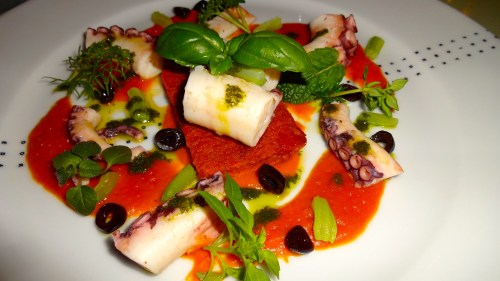 Octopus with Tomato Coulis, Olives, and Fresh Herbs (8/10).
