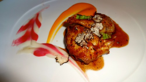 Quail Breast and Leg with Black Truffles, Carrot Purée, and Broccoli Mash (8.5/10).