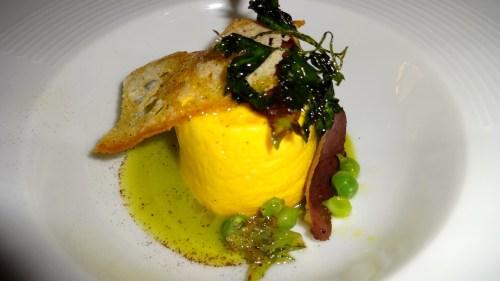 Rebiller Cheese Sformato with Peas and Crispy Duck Ham (8.5/10).