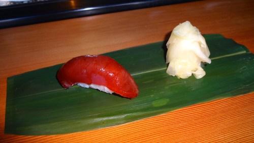 Maguro/Big Eye Tuna Nigiri with Sake Soy Marinade (7.5-8/10).