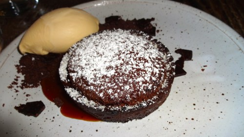 Warm Chocolate Soufflé Tart with Cocoa Nib Brittle and Salted Caramel Ice Cream (8.5/10).