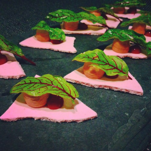 Strawberry Meringue with Foie Gras Mousse, Strawberry Gel, and Red Veined Sorrel.