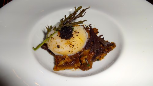 Poached Egg with Braised Brown Bread topped with Caviar (8/10).