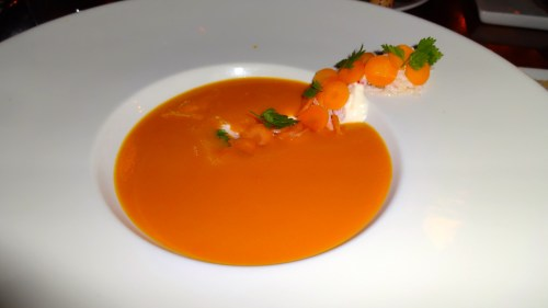 Carrot Soup with Snow Crab, Housemade Ricotta Cheese, and Lemon Verbena (8-8.5/10).