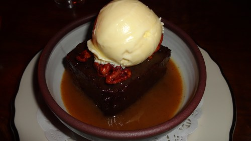 Sticky Toffee Pudding with Caramel, Nuts, and Ice Cream (8.5/10).