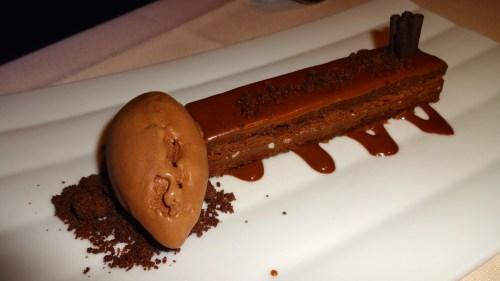 Chocolate Cake with Caramel Glaze and Chocolate Ice Cream (7/10).