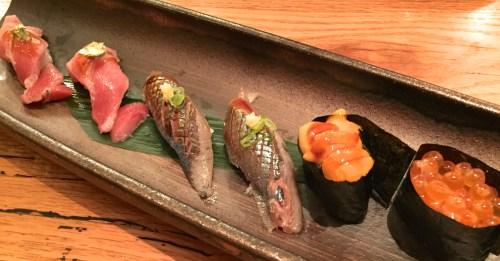 Toro/Blue Fin Tuna Belly Nigiri (9/10), Sanma/Pike Mackeral Nigiri (8/10), Uni/Sea Urchin Nigiri (9/10), and Ikura/Salmon Roe Nigiri (8/10).