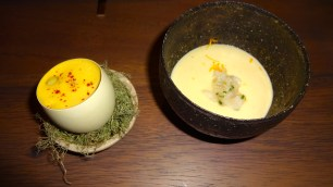Egg Sabayon (7/10) and Potato Mousse with Turbot Fin (8.5/10).