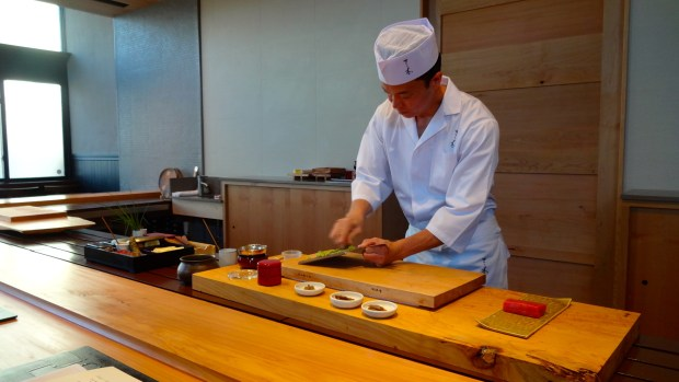 Sitting at the Sushi Counter.