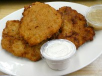 Latkes with Sour Cream and Apple Sauce.