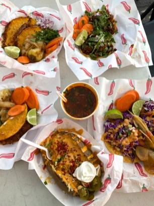Quesabirria Tacos, Birria Tacos, Adobada Tacos, Pescado Tacos, and Loaded Baked Potato.