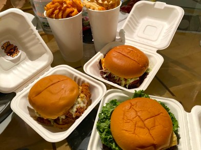 Smashburgers, Fried Chicken Sandwich, and Waffle Fries.