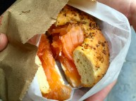 Onion Bagel with Salmon and Cream Cheese.