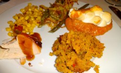 Creamed Corn, Green Beans, Sweet Potato Casserole, Cornbread Stuffing, and Turkey.