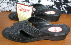 Okabashi Womens Black Slip On Wedge Heel Sandals Size Large 8 1/2 – 9 1/2