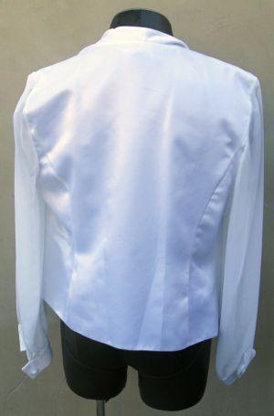 Adrianna Papell Womens White Blazer Jacket Sheer Sleeves w/ Rhinestone Button