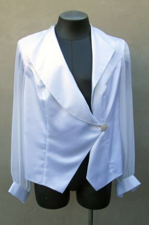 Adrianna Papell Womens White Blazer Jacket Sheer Sleeves w/ Rhinestone Button