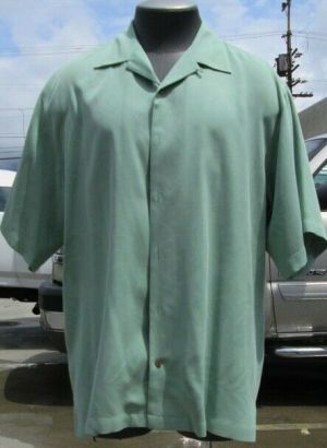 Tommy Bahama Casual Button Up Shirt Short Sleeve Green Large 100% Silk