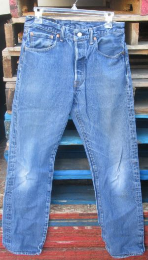 Vintage Mens Levis 501 Distressed Denim Blue Jeans 32×34
