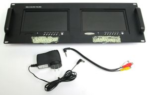 "Delvcam DELV-2LCD-7XLRM Dual 7"" Rack Mount TFT LCD Monitors ATSC w/ TV Receiver"