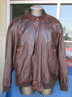 KaDeWe Brown Zip Bomber Aviator Motorcycle Jacket L Real Leather Fully Lined