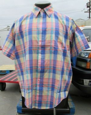 Ross Sutherland Dress Shirt Button Down Short Sleeve Extra Large MultiColor
