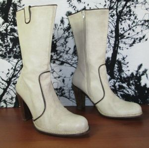 "Destroy Beige Luxury Leather Calf Boots Zip Up Size 41 Heel 4"" Made in Spain"